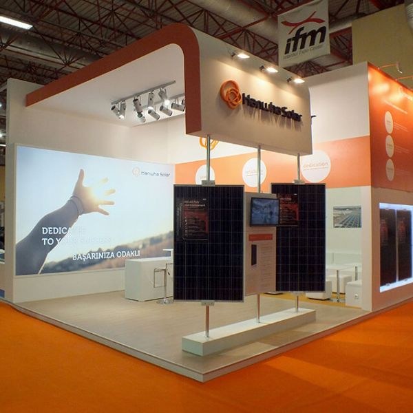 Hanwha Solar Energy Messe, Messestand, Messebau, Messebauer, Messebausystem, System Messestand, Messedesign, Messearchitektur, Messedesigner, System, aluvision, Messeagentur, Messemunchen, messedeutschland, messebayern, messesüddeutschland,2020
